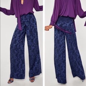 Zara Blue Wide Leg Jacquard Pants